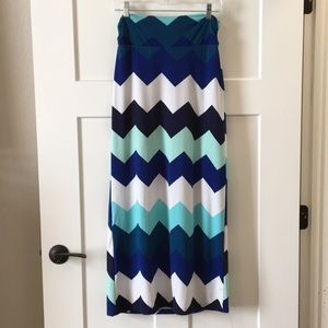 Blue, Teal, and White Maxi Skirt
